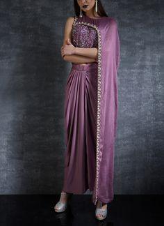 Indian Fashion Designers - Nidhi Singh - Contemporary Indian Designer - One Sided Cape Top Set - Designer Party Wear Dresses, Designer Gowns, Designer Kurtis, Indian Gowns, Indian Attire, Indian Wear, Indian Fashion Designers, Indian Designer Outfits, Saree Jacket Designs