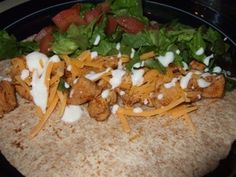 Del Taco Chicken Soft Tacos made healthy.  For Sauce (not included in recipe), mix into sour cream: buttermilk ranch dressing to taste, juice of a lime, a few tsp of taco seasoning