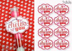 "I ""Chews"" You - bubble gum valentine, free printable"
