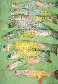 Beach Art: Nine Fish Stacked : Oil : Deborah Donelson