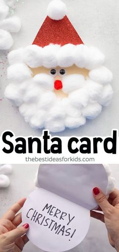 christmas crafts santa SANTA CRAFT - Christmas craft for kids. This Santa card craft is perfect for preschool or kindergarten kids to make! Easy and fun! Grab the free printable template to make this card. Christmas Arts And Crafts, Diy Christmas Cards, Xmas Crafts, Santa Crafts For Kids To Make, Christmas Ideas, Christmas Gifts, Christmas 2019, Christmas Crafts For Kindergarteners, Christmas Crafts For Kids To Make Toddlers