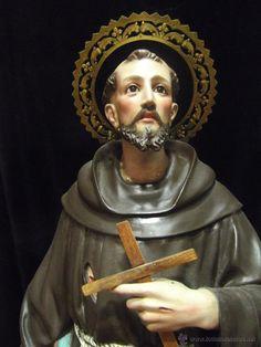 Antigua talla de convento, San Francisco de Asís, pasta de madera, más de un metro.Arte cristiano