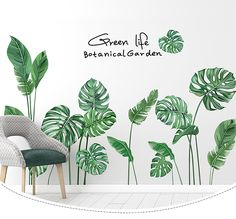 Bedroom Self-stick Fresh Green Plant Wall Decoration Painting Emerald Green Leaf Decals Wall Painting Decor, Mural Wall Art, Home Decor Wall Art, Wall Decal, Pink Bedroom Walls, Green Leaf Wallpaper, Garden Mural, Flower Wall Stickers, Plant Wall