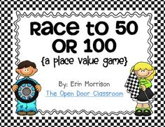 Race to 50 or 100 {A Place Value Game} with base-10 blocks.