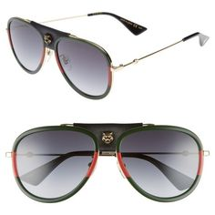 Women's Gucci 57Mm Metal Aviator Sunglasses (8.531.200 IDR) ❤ liked on Polyvore featuring accessories, eyewear, sunglasses, gold, metal aviator sunglasses, aviator style sunglasses, logo sunglasses, gucci glasses and gucci