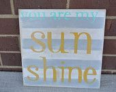 you make me happy when skies are grey yellow white polka dot sign wooden painted sign nursery decor. $25.00, via Etsy.