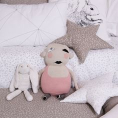 The jealous baby is from @fourmonkeysandk , a very stylish store. The rabbit, the bedding, the pillows are from  ooh-noo.com