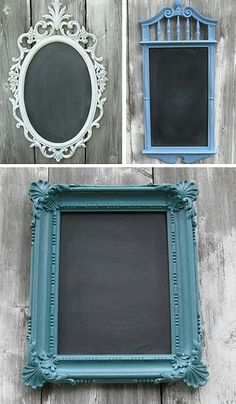 Paint a mirror or picture frame with chalkboard paint. Instant awesome memo board!