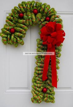 Lime Green & Red Candy Cane Mesh Wreath NEW ITEM by dottiedot05, $70.00