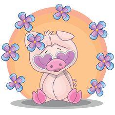 Porco com flores - ilustração de arte em vetor