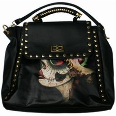 Iron Fist Vanity Fair Sugar Skull Vegan Cross-body Handbag Purse. Iron Fist Vanity Fair Handbag spins classic urban accessories and classic art into a must have! The gold-tone nail head studs around the edge and purse handle are both edgy and sophisticated. The outside is fashioned with a colorful sugar skull death mask and peacock feathers in black faux-leather.