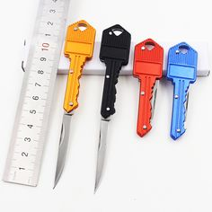 [4 Color] Protable Key Fold Knife Key Pocket Knife Key Chain Knife Peeler Mini Camping Key Ring Knife Tool