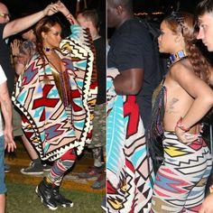 Rihanna at Coachella music festival 2015 wearing KTZ Fall 2015 tribal print jacket and leggings, Balenciaga marble sole Unit biker boots