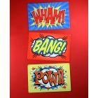 Wham Bang Pow Superhero Sound Effect Signs Set
