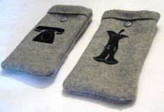 *Handytasche ♥Apfel♥ o. ♥altes Telefon♥Wollfilz*     grau milierter Wollfilz mit Flexdruck  Apfel abgeknabbert ODER altes Telefon  & grausilberner Dru