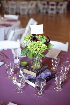 purple book centerpiece