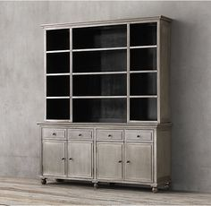 Annecy Metal-Wrapped Panel 4-Door Sideboard & Open Hutch