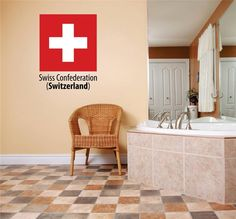 Decal - Vinyl Wall Sticker : Swiss Confederation (Switzerland) Flag Country Pride Symbol Sign / Banner Emblem - Home Decor Boys Girls Dorm Room Bedroom Living Room Peel & Stick Picture Art Graphic Design Car Window Text Lettering Mural - Size : 5 Inches X 20 Inches - 22 Colors Available: Amazon.ca: Tools & Home Improvement