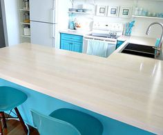 These solid maple countertops started as 2-inch-thick rough planks that were 10-12 inches wide.