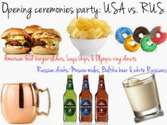 home sweet {first} home: Olympics party ideas. Opening ceremony watch party with Moscow mules, white Russians and Olympic ring donuts. #Sochi2014.