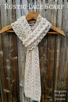 Rustic Lace Scarf - Highland Hickory Designs - Free Crochet Pattern Crochet the light and airy Rustic Lace Scarf with this free and beginner friendly pattern. You can create a standard scarf or infinity scarf. Crochet Lace Scarf, Crochet Beanie, Crochet Scarves, Crochet Clothes, Crocheted Scarves Free Patterns, Crochet Cowls, Knitted Shawls, Crochet Infinity Scarf Free Pattern, Lace Shawls