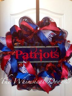 New England Patriots NFL Football Decomesh Red Blue Mother's Day Father's Day Draft Day on Etsy, $55.00