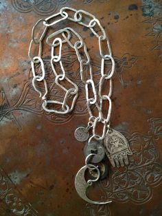 Antique Moroccan Berber Amulets and Hand Made Silver Chains - Victoria Z Rivers Jewelry+Antique Moroccan Berber Amulets+Silver+Trade Beads