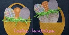 an easter invitation     I found this  adorable invitation online and did my best to recreate it. The basket and eggs were cut on my Cricu...