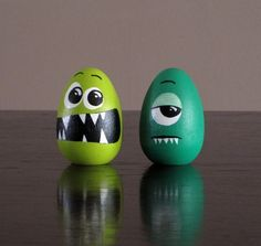 Set of 2 Wooden Monster Easter Eggs by Monsteropolis on Etsy
