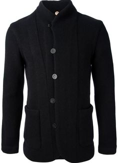 €2,130, Schwarze Strickjacke Mit Schalkragen. Online-Shop: farfetch.com. Klicken Sie hier für mehr Informationen: https://lookastic.com/men/shop_items/114879/redirect