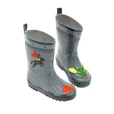 Kidorable Kids Toddler Dragon Knight Rain Boots Size 8 Grey