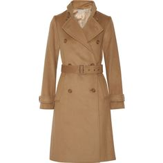 Vince Wool and cashmere-blend trench coat ($865) ❤ liked on Polyvore featuring outerwear, coats, jackets, coats & jackets, trench, trench coat, long brown coat, double-breasted wool coat, brown double breasted coat and wool trench coat