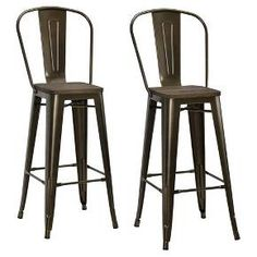 Farmhouse chic meets industrial meets your comfortable space with the Luxor Metal Barstool Set with Wood Seat from Dorel Home Products. These industrial barstools are an easy choice for comfort with the high back and footrests, while the mix of materials adds a unique focal point in your space. Just line them up at your bar area for a great place to enjoy sips and snacks with a friend.