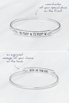 Coordinates Bracelet - GPS Coordinates Bangle - Longitude and Latitude Bracelet - Graduation Gift - Latitude Longitude Jewelry - Anniversary Gift - Farewell Gift.