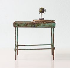 Vintage Industrial Stand   Small Green Metal Table by bellalulu, $78.00