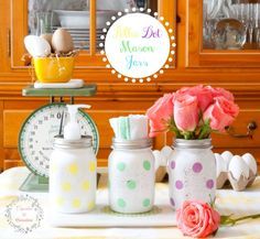 Polka Dot Mason Jars~ painted Mason Jars ~ easy to make with tutorial from cupcakesandcrinoline.com