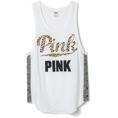 Victoria's Secret PINK Leopard Cheetah Letters Letters Boy Tank Top... ($32) ❤ liked on Polyvore featuring tops, cheetah print tank, leopard print tank top, white singlet, leopard tank top and leopard tank