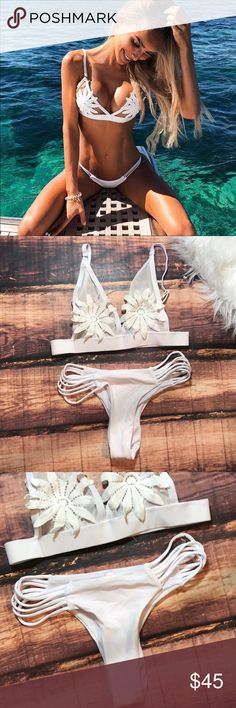 "<< White Flower Mesh Strappy Cheeky Bikini >> A sexy twist on a classic white bikini. This baby is mesh with a floral crochet ""pasty"" like patch. Strappy bikini bottoms that show a little skin! First picture is modeled, all other photos are my own of the product you will receive. IMO it runs a tad small. Adjustable top for the perfect fit. Swim"
