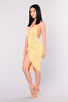 Available In Gold Ruched Halter Dress High Leg Slit Polyester, Spandex Made in USA Satin Dresses, Sexy Dresses, Cute Dresses, Fashion Dresses, Fashion Sale, Girl Fashion, Sexy Outfits, Cute Outfits, Hot Dress
