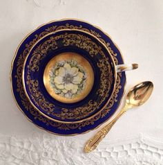 Paragon Cobalt China Tea Cup & Saucer Teacup by TheEclecticAvenue