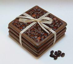 Coffee Lovers Coaster Set of coffee bean multi color coasters Coffee Bean Decor, Coffee Bean Art, Coffee Beans, Coffee Crafts, Diy Resin Art, Epoxy Resin Art, Resin Crafts, Great Coffee, Coffee Type