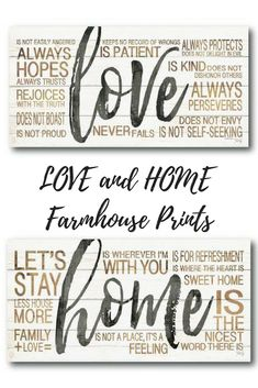 """LOVE and """"HOME"""" Textual Art on Wrapped Canvas 