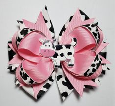 Cow Print Hair Bow OTT Cow Pink Farm Country Theme Alligator Clip French Barrette Cow Outfit Cow Baby Shower Gift Cow Birthday Bow by SimpleUniqueBows on Etsy Cow Birthday Parties, Farm Birthday, Birthday Party Favors, Birthday Ideas, Cow Baby Showers, Farm Theme, Farm Party, Cow Print, First Birthdays