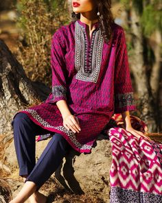 Buy Maroon Embroidered Cotton Lawn Dress by Khaadi Lawn Collection 2015.