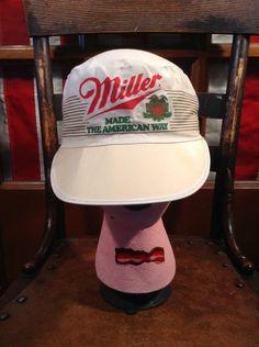 Vintage MILLER BEER Made The American Way Painters  Truckers Cap Hat Elastic #BaseballCap