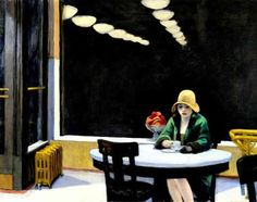 The Automat by Edward Hoppae, a sad Woman in a bar at night. The lines and movement express loneliness, a loneliness which many people try to scape.