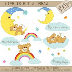 Digital Clipart  Teddy Bear Life is but a dream  by ClipArtCorner, $3.50