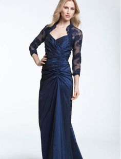 Taffeta V-Neckline Sheath Mother of the Bride Dress with Chantilly Lace Sleeves - Bridal Party Dresses - goodcheapweddingdress