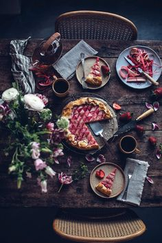 Gluten-free Rhubarb Galette - Our Food Stories Amazing Food Photography, Dark Food Photography, Rhubarb Triangle, Rhubarb Galette, Rhubarb Juice, Gluten Free Pastry, Food Flatlay, Pie In The Sky, Spring Recipes