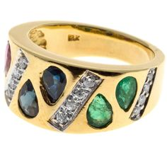 Pear Emerald Ruby Sapphire Diamond Gold Diamond Band Ring